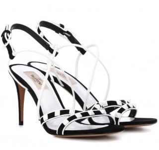 Valentino Garavani Navy & White Free Rockstud Sandals