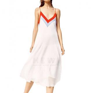 Sandro Runway White V-Neck Knit Midi Dress