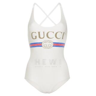 Gucci Cream Logo Print Racerback Swimsuit