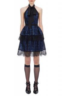 Self Portrait Tiered Check Sequin Mini Dress