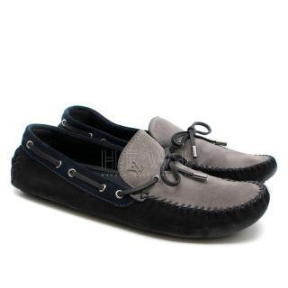 Louis Vuitton Blue & Grey Suede Men's Loafers