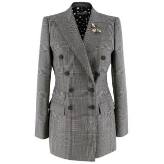 Dolce & Gabbana Double Breasted Glen Check Fitted Longline Blazer