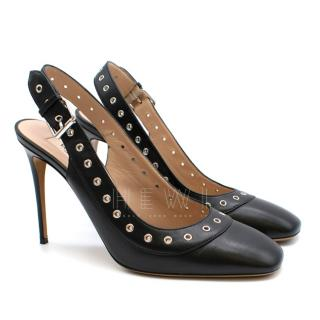 Valentino Eyelet Trim Leather Slingback Pumps