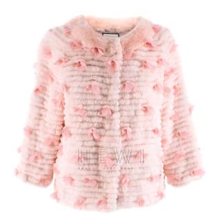 Max & Moi Pink Combers Fox Fur Jacket