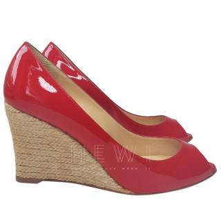 Christian Louboutin Patent Leather Espadrille Wedges