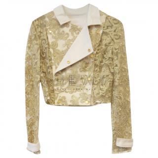 Savin Embroidered Asymmetric Brocade Jacket
