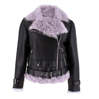 MO&Co. Black Leather Jacket with Lilac Shearling Lining