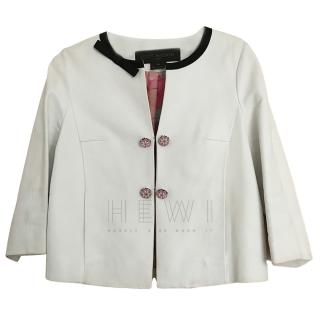 Louis Vuitton White Collarless Leather Jacket
