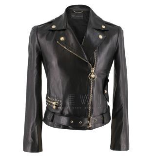 Versace Black Asymmetric Leather Jacket
