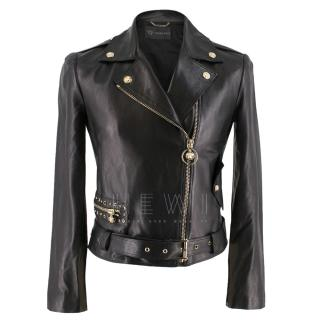 Versace Black Asymmetric Leather Jacket