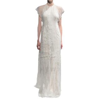 David Fielden Lace Embroidered Halterneck Wedding Dress