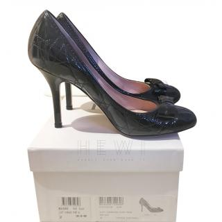 Dior Black Patent Leather Cannage Pumps