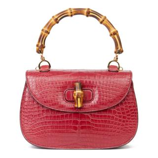 Gucci Red Alligator Bamboo Top Handle Tote