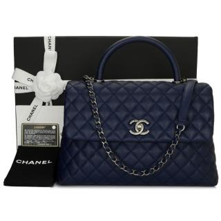 Chanel large navy blue caviar leather Coco handle bag