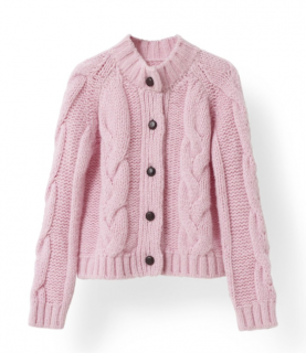 Ganni Pink Cable Knit Alpaca Wool Blend Cardigan