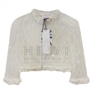 Savin London Lace Embroidered Cropped Bridal Jacket