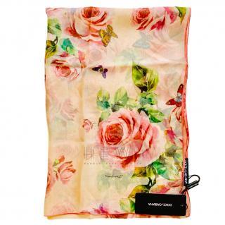 Dolce & Gabbana Silk Rose Print Wrap Scarf