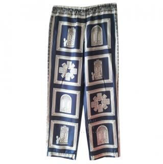 S'Max Mara Door Print Silk Pyjama Trousers