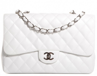Chanel White Caviar Leather Jumbo Flap Bag