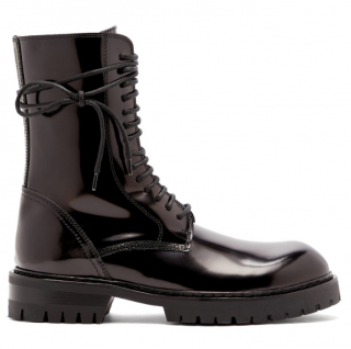 Ann Demeulemeester Black Patent Buckle Lace-Up Ankle Boots