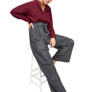 Tara Jarmon Plaid Paperbag Waist Trousers