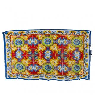 Dolce & Gabbana Silk XL Majolica Print Shawl