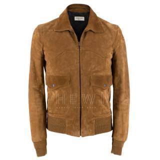 Saint Laurent Tan Calf Suede Jacket