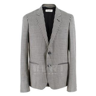 Saint Laurent Gingham Double Breasted Mohair Blend Blazer