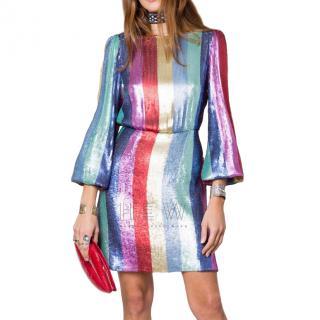 Rixo Ava Multi Stripe Sequin Mini Dress