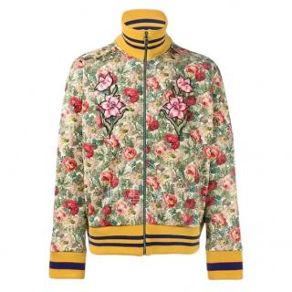 Gucci Floral-Print Scuba-Jersey Bomber Jacket