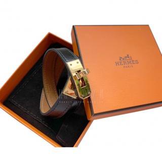 Hermes Black Kelly Double Tour Bracelet