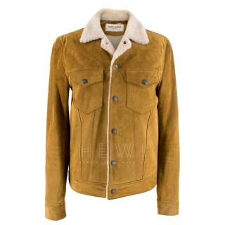 Saint Laurent Tan Shearling Lined Suede Jacket