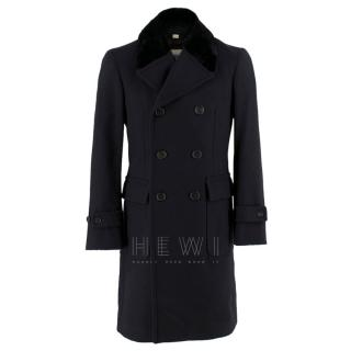 Burberry Wool Black Tailored Coat with Mink Fur Collar