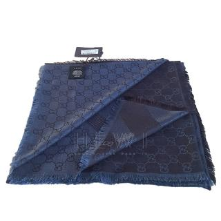 Gucci Blue Guccissima Wool & Silk Scarf