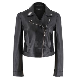 Versace Embellished Asymmetric Leather Jacket