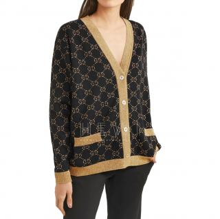 Gucci Black & Gold Metallic Knit Monogram Cardigan