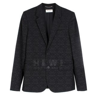 Saint Laurent Black Cotton-Blend Brocade Blazer
