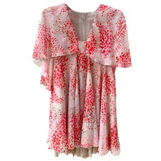 Giambattista Valli Red & Cream Printed Silk  Dress