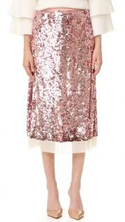 Tory Burch Cove Sequinned Skirt in Blush