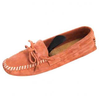 Car Shoe Orange Suede Loafers