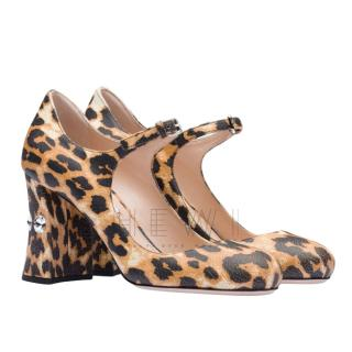 Miu Miu Leopard Print Embellished Mary-Jane Pumps