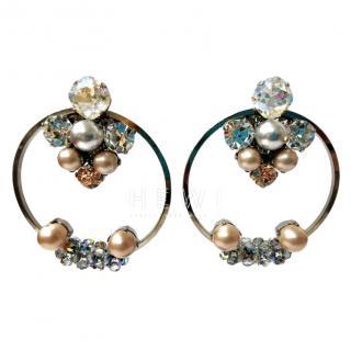 Vicki Sarge Crystal Embellished Hoop Earrings