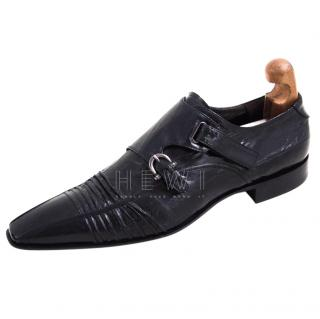 Cesare Paciotti Black Leather Double Monk Shoes
