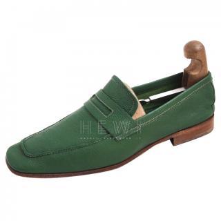 Prada Green Men's Penny Loafers