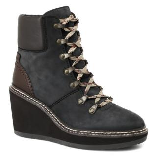 See By Chloe Navy Leather Nabuk Wedge Lace-Up Ankle Boots