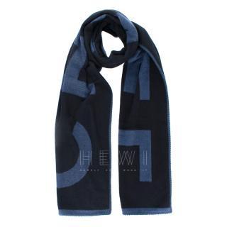 Chanel Blue Long Letter Logo Cashmere Scarf