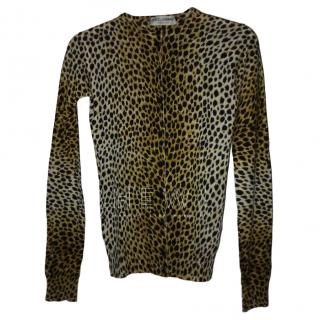 Dolce & Gabbana Leopard Print Cashmere & Silk Cardigan
