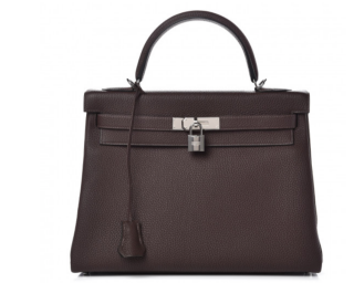 Hermes Cacao togo leather 32cms Kelly Bag