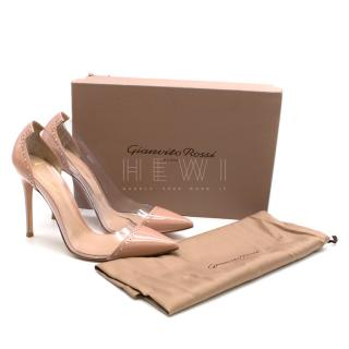 Gianvito Rossi Pale Pink Patent Leather PVC Cut Out Pumps