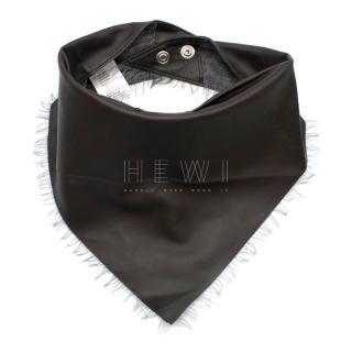 Agnona Leather & Cashmere Neck Tie/Bandana